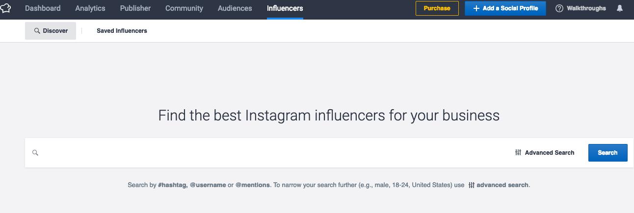 socialbakers 搜索kol 版块
