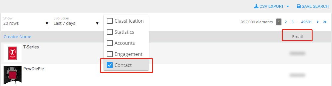 Wizdeo Analytics-Creator-查看红人资源的联系方式