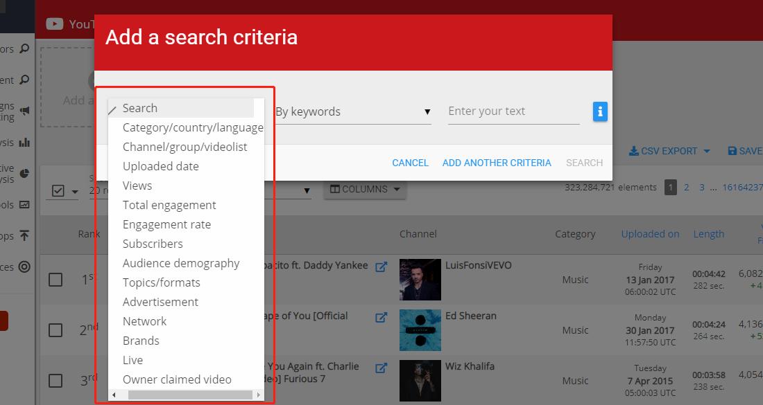 Wizdeo Analytics-Add a criteria条件选择-类目